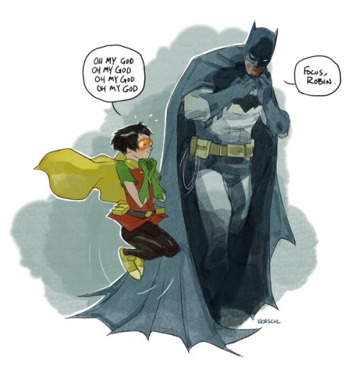 Бэтмен коучит Робина про переживания о божественном.)